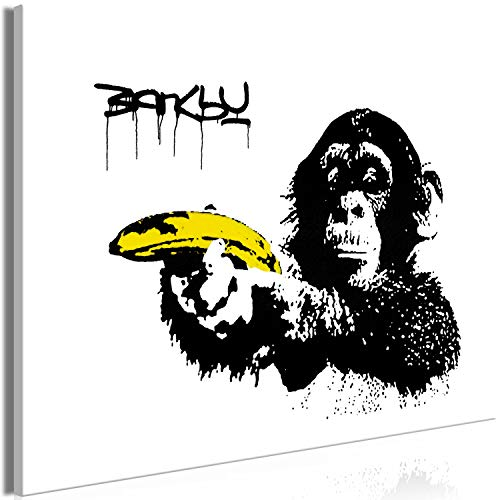 murando Cuadro en Lienzo Banksy Mono con Pistola Banana 90x60 cm 1 Parte Impresión en Material Tejido no Tejido Impresión Artística Imagen Gráfica Decoracion de Pared Graffiti Street Art i-C-0148-b-a