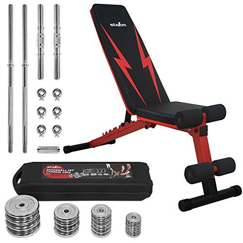 STOZM Multi-Purpose Deluxe Adjustable Strength Training Weight Bench (Crimson) and Adjustable Dumbbell Set with Case – 50 kgs /110 lbs for Full Body Workout (Chrome Finish)