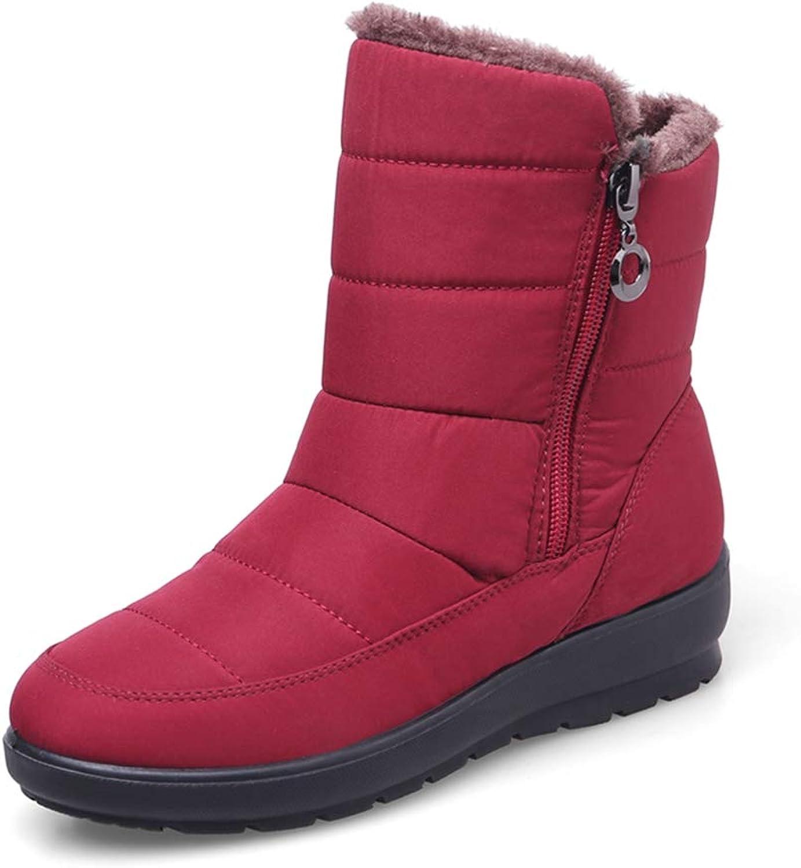 GIY Women's Winter Fur Snow Ankle Boots Waterproof Side Zipper Short Boots Casual Warm Rain Snow Booties