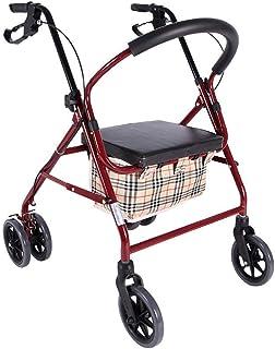 SONGYU Déambulateur à roulettes Pliables avec siège rembourré, Freins verrouillables, poignées ergonomiques et Sac de Tran...