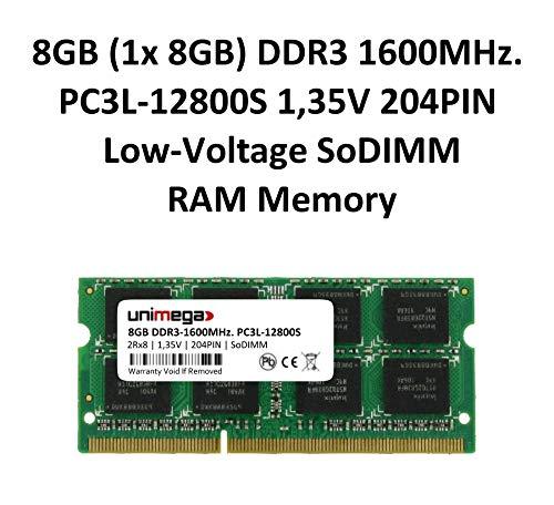unimega 8GB (1x 8GB) DDR3 1600MHz PC3L-12800S 204PIN 1,35V SoDIMM Memoria RAM Memory