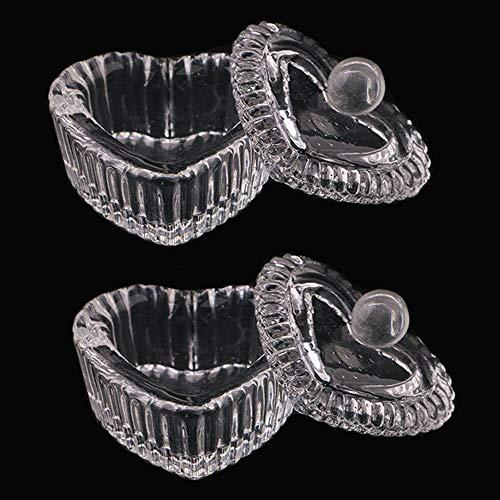 Kalolary 2 Pcs Nail Art Glass Acrylic Dappen Dish with Lid, Heart Shape Liquid Powder Crystal Cup Glassware Tools for Acrylic Nail Art Transparent Kit