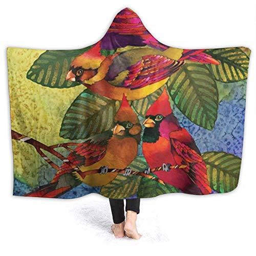 ZHENGYUAN Cardinals - Sudadera con capucha para niña, resistente al viento, franela con mangas, 80 x 60 cm