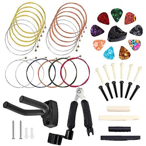 BOZHZO Zubehör für Gitarren, 50 PCS Einschließlich Gitarrensaiten, Bridge-Pins, Plektren, Bridge Knochenmutter und Knochensattel, 3-in-1-Gitarrensaitenwickler und Pin-Puller und Gitarrenhalter