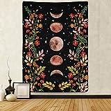 Alumuk Mondlicht Garten Wandteppich Tapisserie Mondphase umgeben von Weinreben & Blumen Wandbehang Tuch Schwarz Wanddekor Wandtuch für Wohnzimmer Schlafzimmer (150 x 200 cm)