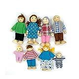OKOK 8 Pcs Wooden Dollhouse Family Set Dollhouse Dolls Wooden Doll Family Pretend Play Figures, Miniature Doll House Doll Figures, Family Role Play Pretend Play Mini People Figures