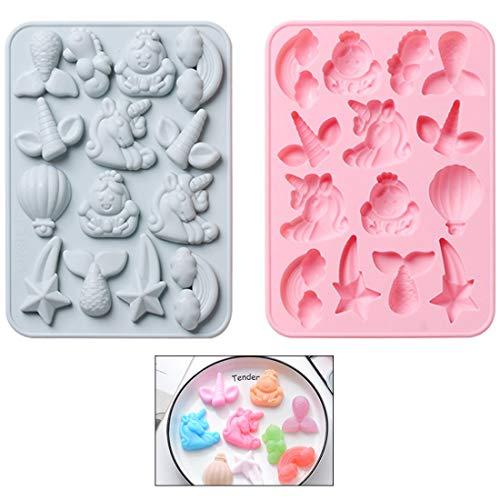 Silikon-Formen YUESEN 2 Stücke Backen Einhorn Tier Eiswürfelform aus Silikon für Schokolade, Bonbons, Eiswürfel, Wackelpudding DIY hausgemachte Handwerk (Rosa,Blau)