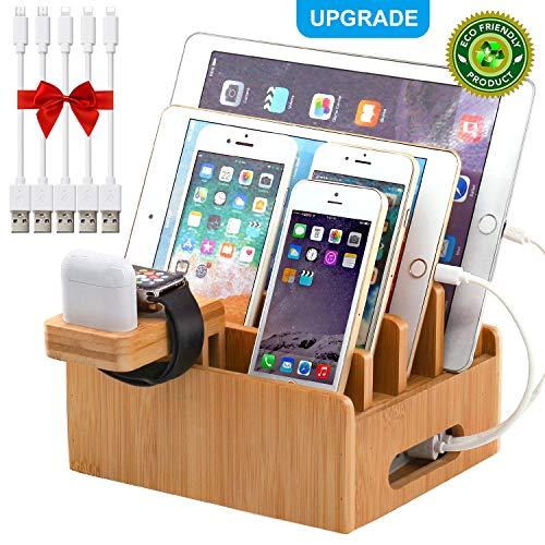 Pezin & Hulin estación de carga de bambú para múltiples dispositivos, estación de acoplamiento de escritorio organizador para teléfono celular, tableta, reloj