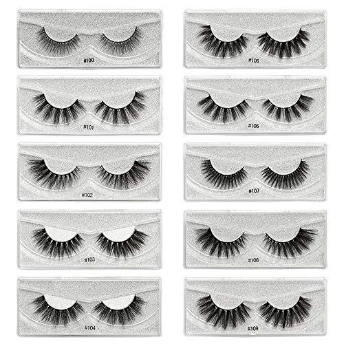 Faux Cils 3D, 1-100 paires 3D Faux Cils Simulation de Poils de Vison Naturelle Noir 10 Styles Mixte Faux Cils Naturel