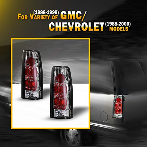 Tail Light Assembly for 88-00 Chevy C/K & Suburban & Blazer & Tahoe / 88-99 GMC C/K & Suburban & Yukon / 99-00 Cadillac Escalade, Tail Light Replacement Black Housing Driver & Passenger side