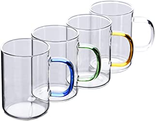Warm Crystal, 11.6 oz Borosilicate Glass Coffee or Tea Mug Cups with Handle, The Cute Teacup can Use with Glass Teapot or Glass Pitcher(4 sets)