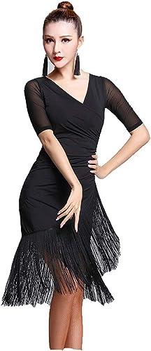 Robe de soirée de danse pour femmes Femmes Danse Danse à Manches Courtes Col V Franges Glands Salle De Bal Samba Tango Robe De Danse Latine Costumes Costumes élégant ( Couleur   Noir , Taille   L )