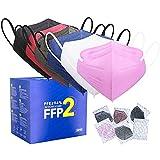 FFP2 Maske CE Zertifiziert - 6 Farbe 30 Stück Masken - Schwarz Rot Blau Rosa Weiß Grau Premium hygienische Einzelnverpackung Atemschutzmaske