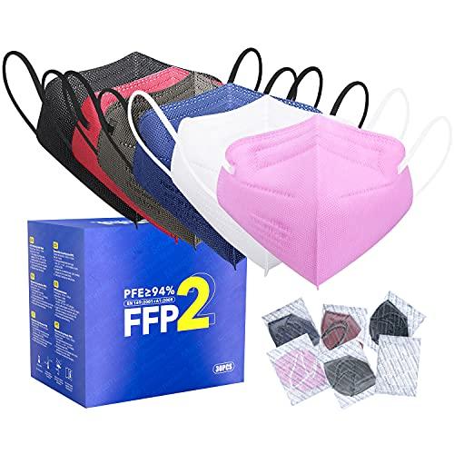 FFP2 Maske CE Zertifiziert - 6 Farbe 30 Stück Masken - Schwarz Rot Blau Rosa Weiß Grau Premium hygienische Einzelnverpackung Atemschutzmaske Bunt