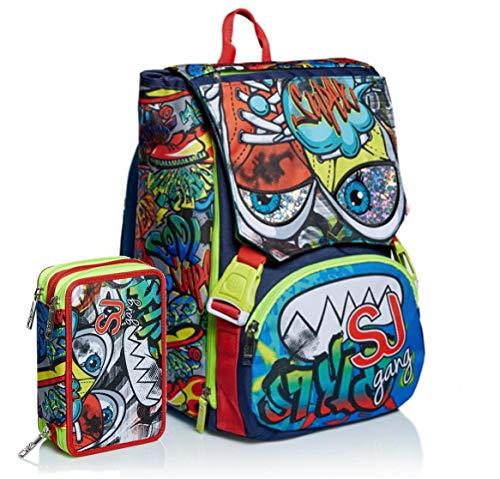 Schoolpack Zaino Seven SJ Gang Facce Boy Verde Estensibile + Astuccio 3 Zip