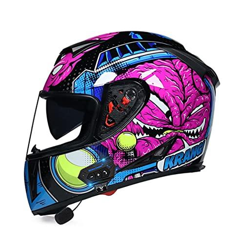 Smilfree Casco De Motocicleta con Bluetooth Casco De Motocicleta Integral para Hombres Y Mujeres Adultos Casco De Motocicleta Bluetooth Casco AnticolisióN CertificacióN Dot/ECE (S-XXL)