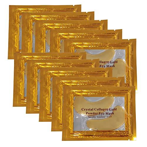 Vandarllin24K Gold Powder Gel Collagen Eye Masks Sheet Patch, Remove Bags,Dark Circles &Puffiness,Reduce Wrinkle,Moisturising,Hydrating,Uplifting Whitening,for Blackheads (10 Pairs)