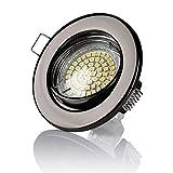 Sweet LED - Juego de 12 focos empotrables orientables, 60 SMD, 280 lúmenes, 3 W, 230 V, casquillo GU10, eficiencia energética A +, color antracita brillante y blanco cálido