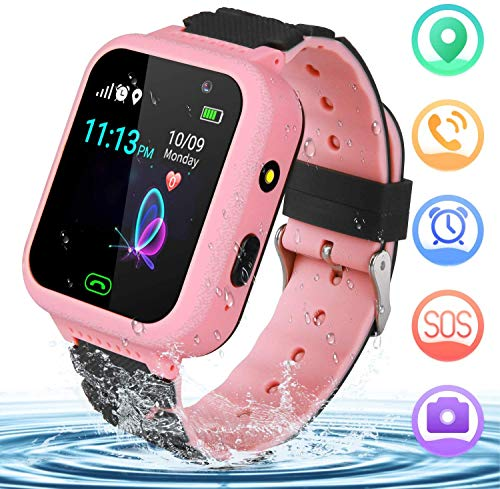 YENISEY Kids Smart Watch GPS Tracker - GPS Smartwatch Phone for Children Girls Boys with SOS Call Camera Flashlight Touch Screen Game Alarm for 3-14 Year Old Students Kids Birthday Gifts (Pink)
