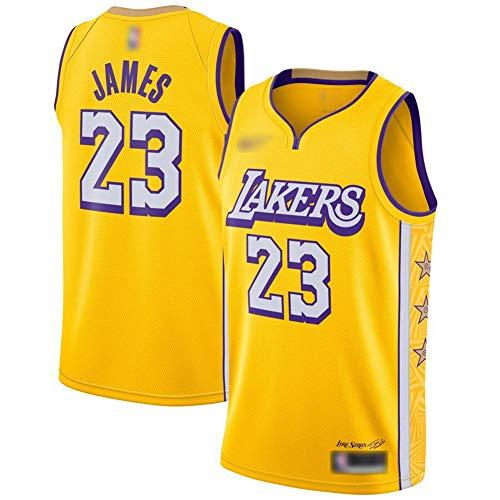 ATI-HSKJ 2020 Camiseta de baloncesto L.A. Lakers Lebron Bryant Davis BH515 - Camiseta de baloncesto para hombre, transpirable, color amarillo, color No. 23, tamaño M:170cm~175cm