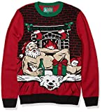 Ugly Christmas Sweater Company Men's Assorted Light-Up Xmas Crew Neck Sweaters with Multi-Colored LED Flashing Lights, Cayenne Romantic Santa, X-Large