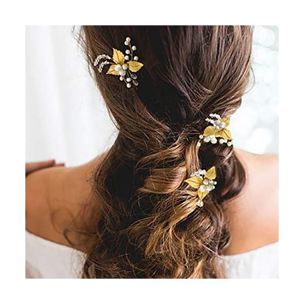 Beauty Shopping Whisttle Pearl Bride Wedding Hair Pins Gold Leaf Rhinestone Bridal Hair Accessories