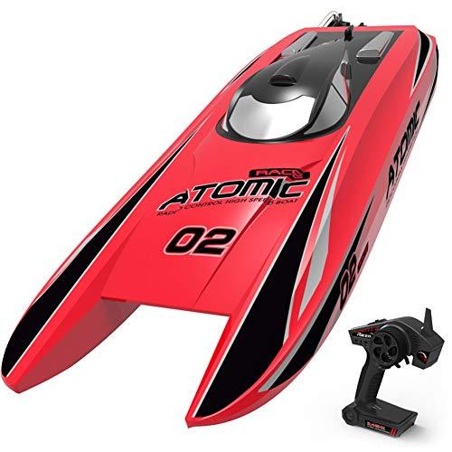 Izzya RC Boat 2.4G Brushless 70km/h Telecomando per Barche ad Alta velocità Nave Barca da Corsa Telecomandati per Bambini Ragazzi,Rosso
