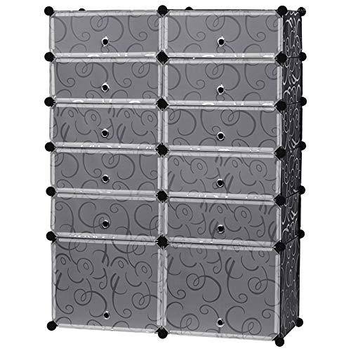 EGLEMTEK Scarpiera Armadio Guardaroba Modulare Scaffale Mobiletto 10 Cubi Rettangolari + 2 Cubi Grandi, Modello con Ricamo in Bianco e Nero 95 x 37 x 128 Cm (Colore Nero)