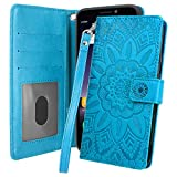 Alcatel Insight Case, TCL A1 Case, Harryshell Kickstand Flip PU Leather Protective Wallet Case Cover with Card Slots Wrist Strap for Alcatel Insight 5005R (Cricket), TCL A1 A501DL (Blue)