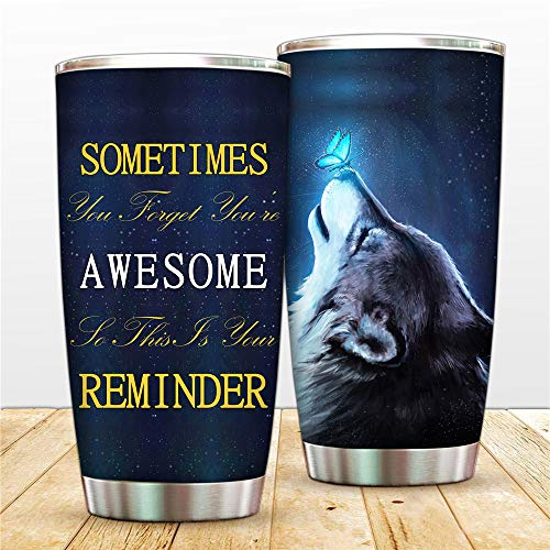 Funny Mugs For Women-Dad To Son Birthday Animal Travel Tumbler - Wolf Butterfly Mom To Daughter Graduation Present -20oz Pet Cup For Best Friend, Brother, Girfriend, Farmers(Animal Tumbler 6-4)
