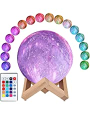 CooPark Moon Lamp Galaxy Moon Night Light 3D Printing Dimmable Moonlight 16 Colors & Remote Control & Touch Control & USB Rechargeable Birthday Gifts for Kids Friend Party Bedroom (4.7inch)