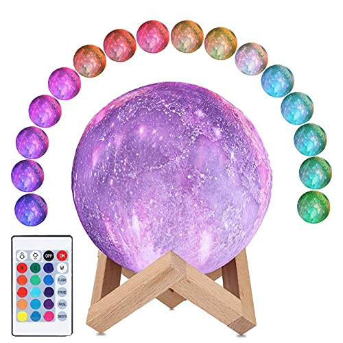 CooPark Luna lámpara galaxia Luz de noche impresión 3D luz de luna regulable 16 colores y control remoto y control táctil y USB recargable, Decoración de dormitorio para niños (12 cm)