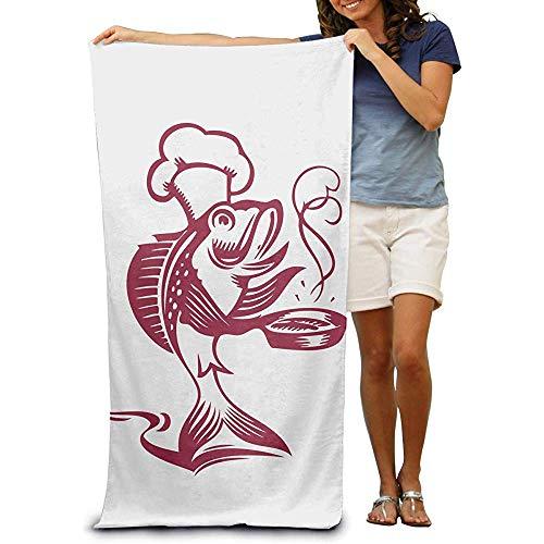 utong Toallas de Playa 100% algodón 80x130cm Toalla de Secado rápido para Nadadores Manta de Playa de Pescado