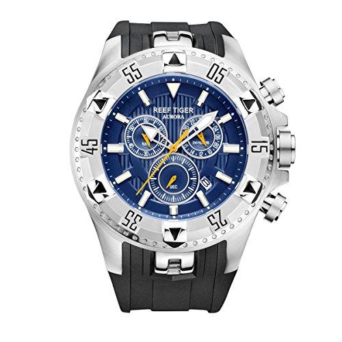 REEF TIGER Herren Uhr analog Quarzwerk mit Kautschuk Armband RGA303-YLB