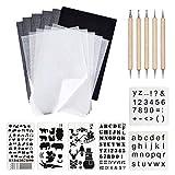 150 fogli A4 nero carbone trasferibile carta da ricalco con 6 stencil con lettere dell'alfabeto di Natale e 5 penne da tracciare per trasferire carta e vetro, incisione su legno