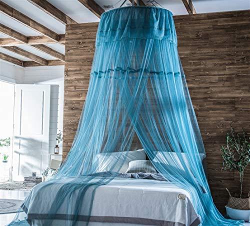 Ommda Mosquitera Cama Dosel Tela Mosquitera Malla Cuna Bebe Decorativa Universal para Cama Matrimonio y Cama Individual,1mφ x 2.8m(altura),Azul verde