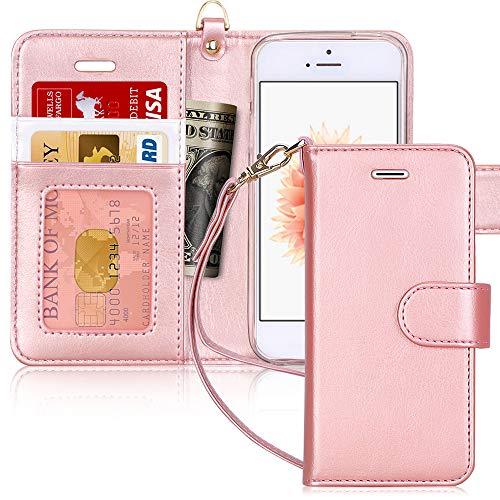 FYY Cover iPhone Se,Cover iPhone 5S,Cover iPhone 5,Flip Custodia Portafoglio [Funzione Staffa] in Premium Pelle PU, con Slot per Schede e Chiusura Magnetica per iPhone SE/5S/5 2016 Versione-Rosa