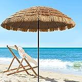 WYZQ Strohgedeckter Patio Tiki Regenschirm, Hawaiian Beach Sunbrella, tragbarer runder Garten wasserdichter Regenschirm, natürliche Farbe, Gepäck