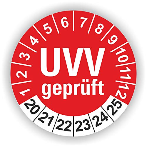 5-1.000 Stück Prüfplaketten Prüfetiketten Wartungsetiketten UVV Prüfung Ø 30mm (Rot 60 Stück)