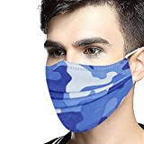 SupeRogie Disposable Face_Mask for Unisex- Fashion Camouflage Printed Bandanas Breathable Lightweight Dustproof Face Protection for Adults-50 PCS