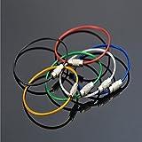 nicebuty 20unidades Llavero alambre de acero inoxidable llavero Cable clave surtidos 5colores negro y plata azul verde rojo