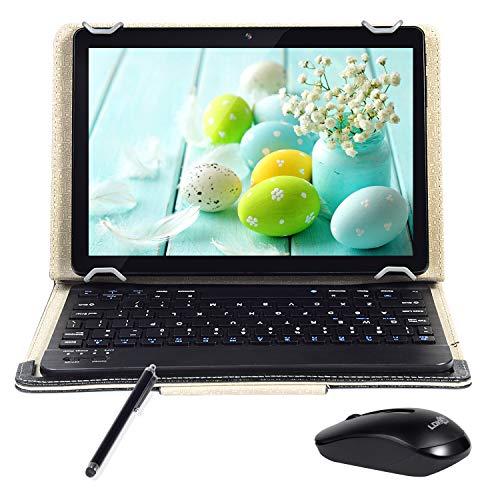 Tablet 10-Zoll-Android 9.0 Quad Core/4 G RAM,64 GB ROM / 8000 Ah/1280 × 800HD/WLAN/GPS/5 MP+8MPKamera/Tastatur/Schutzabdeckung/Dual-SIM-Karte (Black)