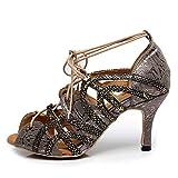 AOQUNFS Zapatos de Baile Latino Mujer Salsa Tango Bachata Vals Zapatos de Baile de Salón,QJW5017-5-Gris,EU41