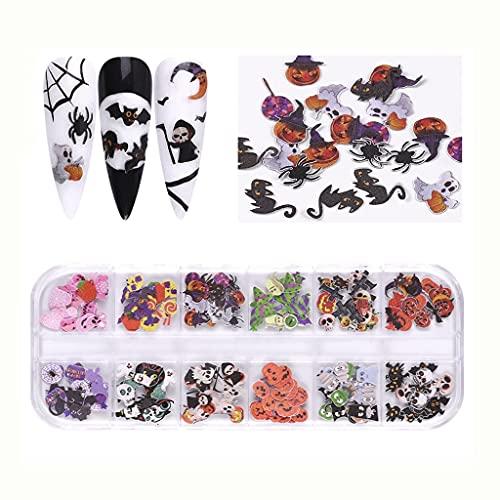 JEONSWOD 12 Gridos Arte de uñas Mariposa Flores Navidad Halloween Nails Flakes Decoración Decoración Diseño Mixto DIY Manicure Herramientas (Color : D)