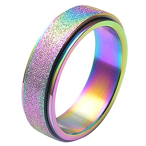 LANHI Unisex's 6mm Stainless Steel Spinner Ring Rainbow Matte Sand Blast Finish Size 4