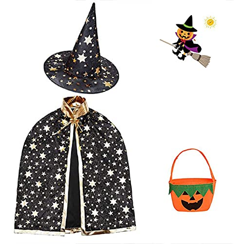 Capa del mago para Halloween, capa de bruja con sombrero, bolsa de caramelos, disfraces de Halloween, disfraz de cosplay para capa infantil, Halloween Costume Props for Kids Cosplay Party, Negro