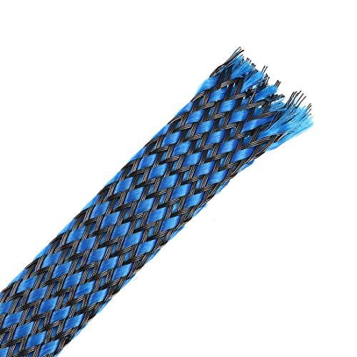 DealMux Funda Trenzada Extensible Pet de 3 pies - 1/2 Pulgada - Funda de Cable Trenzado - Azul