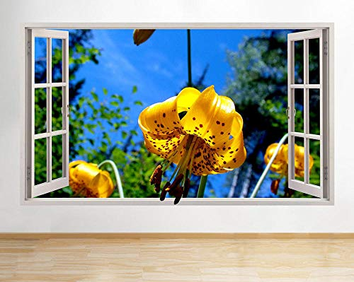 Pegatinas Decorativas Pared 3D Yellow Flower Summer Sunny Para Sala De Niños Sala De Estar Dormitorio Bebe Decoración Del Hogar Pegatinas De Pared Niño Adhesivos Pared Decorativos 23x35inch(60x90cm)