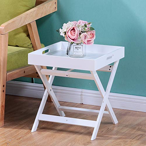 GOLDFAN Coffee Table Wood End Table Small Square Nightstand for Small Space Collapsible Sofa Side Table Tray Table for Living Room, White