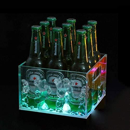 Ice Wine Bucket Bebidas De Hidromasaje, LED Cubo De Hielo, Saludos De Hidromasaje, La Cerveza De Barril De Vino De Champagne Retro Bebidas Bucket- 7 Conversión (Size : 9 Packs)